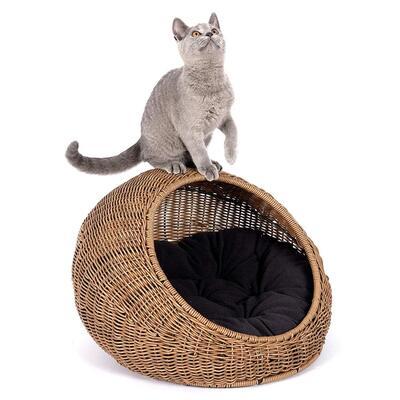 D+GARDEN Wicker Covered Cat Bed