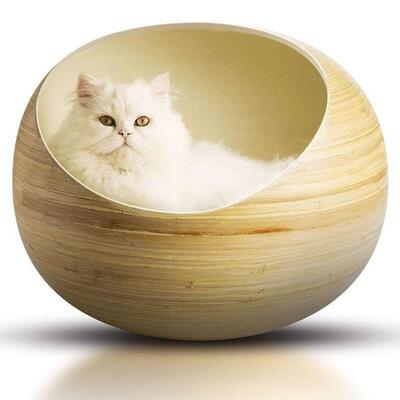 Fhasso luxury bamboo cat bed