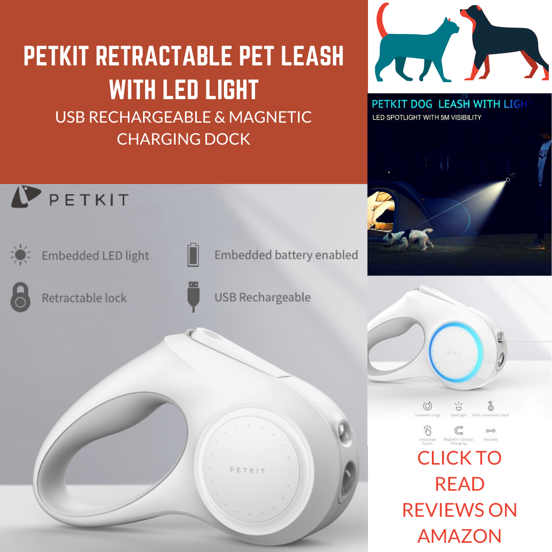 PETKIT USB Rechargeable Retractable Pet Leash with LED Light
