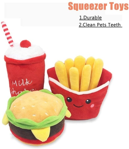 Hpets 3 pcs Hamburger, French Fries and Shake Cup Plush Dog Chew Toys