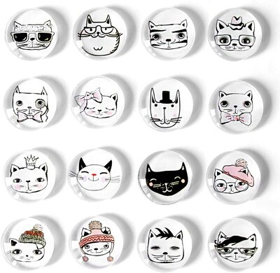 16 different Cat Refrigerator Magnets