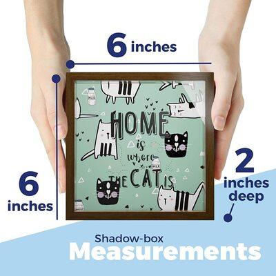 Candeetown Store Wooden Keepsake Display Case with Fun Cat Print
