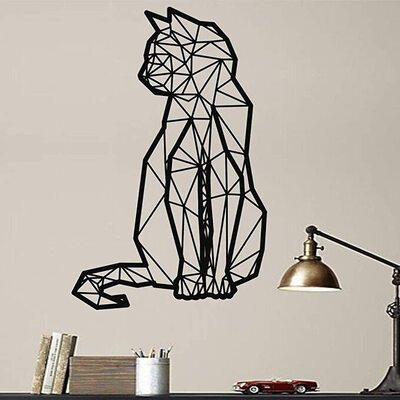 DEKADRON Geometric Cat Shaped Metal Wall Decor