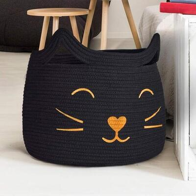 HiChen Cute Cat Face Woven Cotton Rope Storage Basket