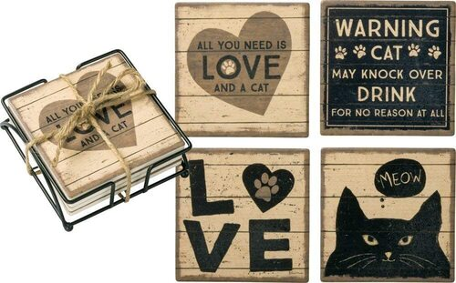 Primitives by Kathy Cat Coaster Set with Holder