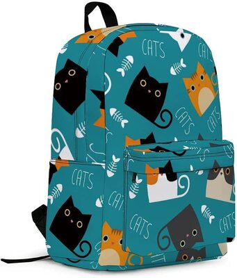 YCGRE Stylish Cute Cat Themed Backpack for Kids, Students