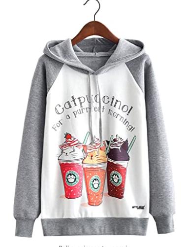 futurino Women's Funny Cat Print Long Sleeve Hoodie Pullover