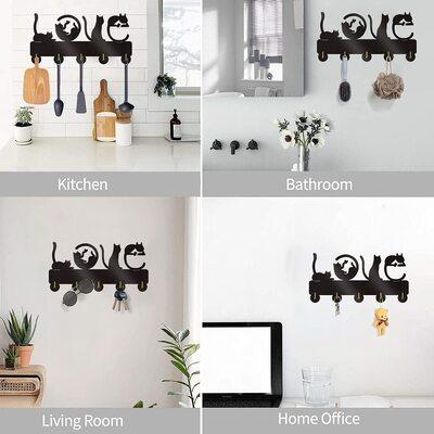 KingLive Cat Shaped Decorative Wall Key Hooks Gift Idea