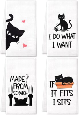 cat decorative towels with funny print and sayings